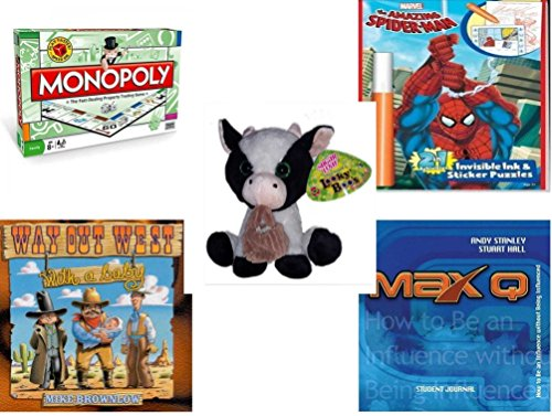Children's Gift Bundle - Ages 6-12 [5 Piece] - Monopoly Board Game by Hasbro - Amazing Spider-man Invisible Ink and Stickers Puzzle - Sugarloaf Creations Looky Boo's Black & White Baby Cow Plush 10
