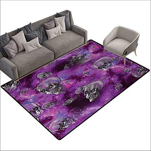 Bath mat Skull Horror Movie Thirller Themed Flying Skull Heads Halloween in Outer Space Image W63 xL94 Suitable for Bedroom, Living Room, Games Room, Foyer or Dining -