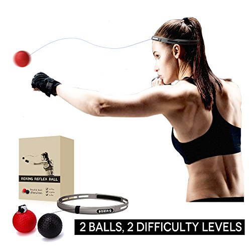 Tekxyz Boxing Reflex Ball, 2 Difficulty Level Boxing Ball with Headband, Softer than Tennis Ball, Perfect for Boxing Focus Punching Improvement and Hand Eye Coordination Training
