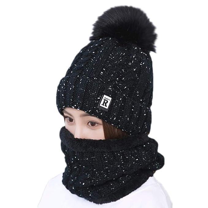2 Stücke Winter Beanie Mütze Schal Set Wolle Warme Strickmütze Herren und Damen