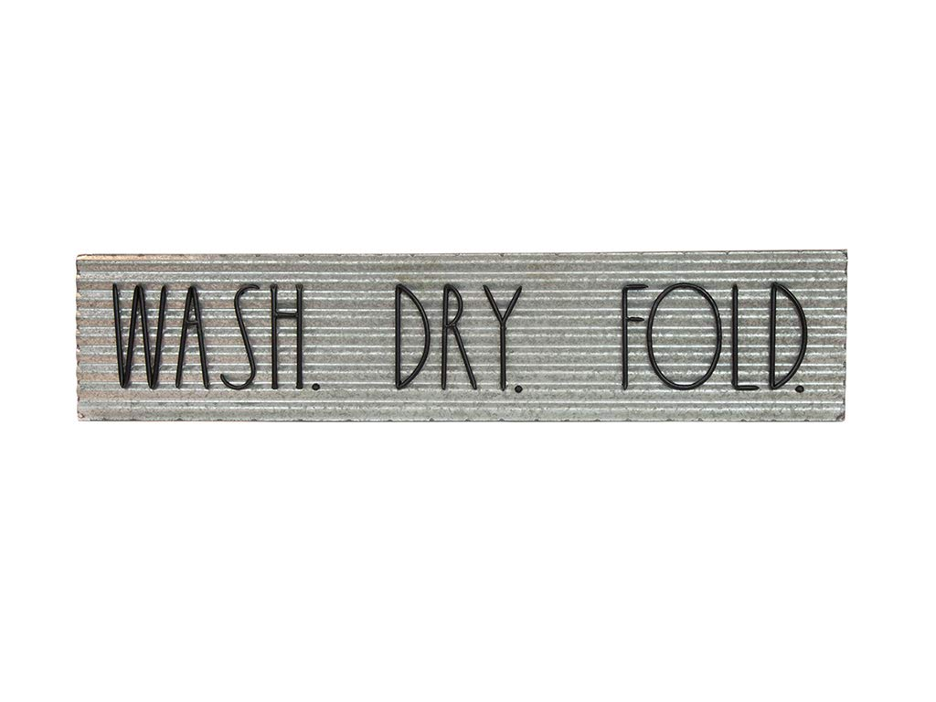 Rae Dunn Decorative Laundry Room Plaque - Galvanized Steel Wall or Door Sign with ''Wash Dry Fold'' Print - Vintage Laundromat Style Décor for Home Washroom or Garage - Easy to Mount by Rae Dunn