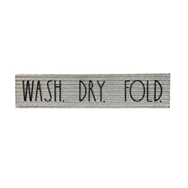 """Rae Dunn Decorative Laundry Room Plaque – Galvanized Steel Wall or Door Sign with """"Wash Dry Fold"""" Print – Vintage Laundromat Style Décor for Home Washroom or Garage – Easy to Mount"""