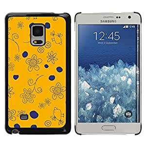 TopCaseStore / la caja del caucho duro de la cubierta de protección de la piel - Navy Blue Orange Drawing Birds - Samsung Galaxy Mega 5.8 9150 9152