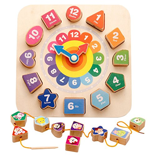 Babyrise 3 In 1 Wooden Shape Sorting Clock Puzzle Lacing Beads Toys Multifunctional Educational Learning Toy for Toddlers Kids by Babyrise
