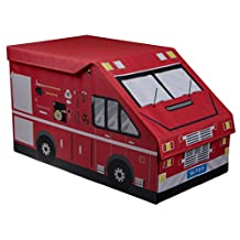 """X-Large Kid's Fire Truck Collapsible Toy Storage Organizer - Cushion Top - 14"""" x 23.5"""" x 13.5"""""""