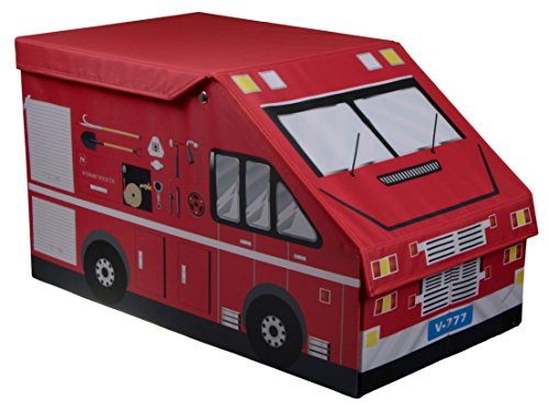 Clever Creations Kids XL Fire Truck Collapsible Toy Storage Organizer Toy Box Folding Storage Ottoman for Kids Bedroom | Perfect Size Toy Chest for Books, Kids Toys, Baby Toys, Baby Clothes