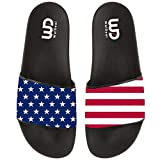 USA Star And Stripe Flag Red Line Summer Slide Slippers For Men Women Indoor Outdoor Beach Sandal Shoes