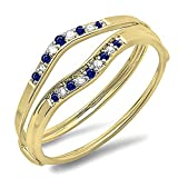 10K Yellow Gold Blue Sapphire & White Diamond Ladies Anniversary Enhancer Guard Wedding Band (Size 5)