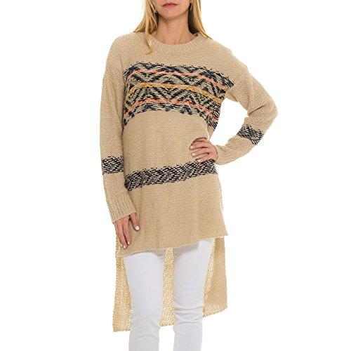 Woven Heart Women's Stripe Tunic Sweater M Ivory ()