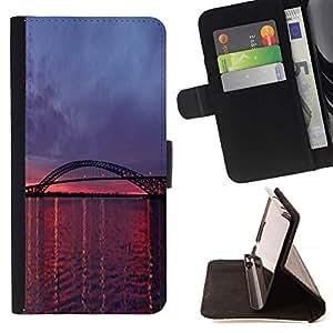 For Sony Xperia Z3 D6603 Case , Rosa púrpura río Sunset Naturaleza- la tarjeta de Crédito Slots PU Funda de cuero Monedero caso cubierta de piel