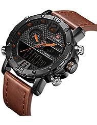 Men's Waterproof Sports Leather Watch Multi-Function Display Backlight Digital Quartz Wrist Watches (Yellow)
