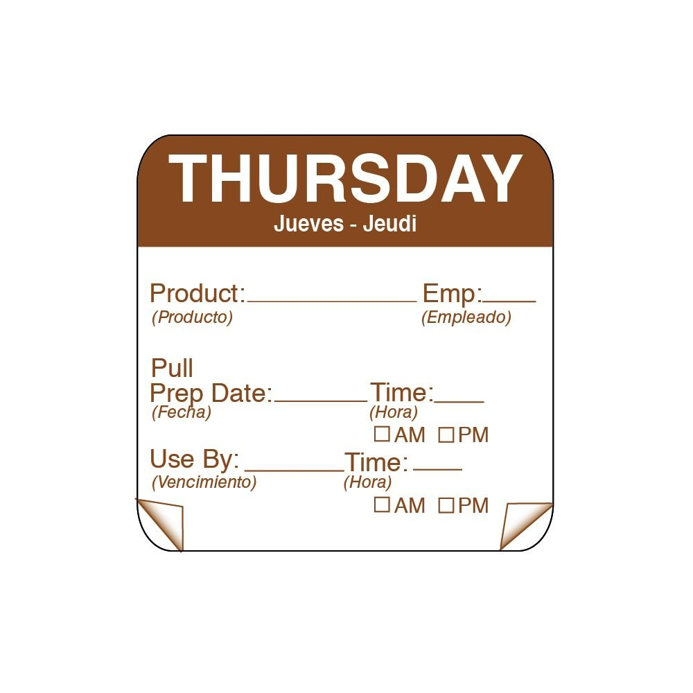 DayMark 115151-4 ToughMark 2'' Thursday Use By Day Square - 500 / RL