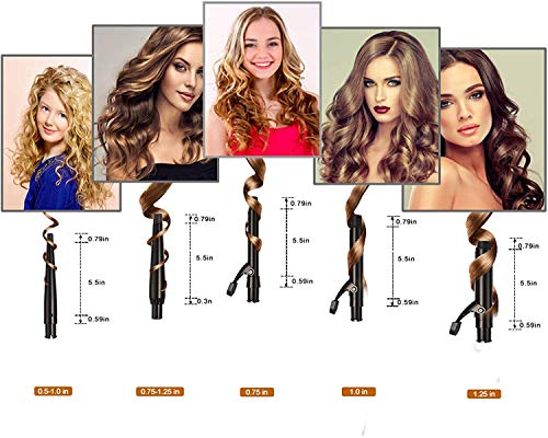 Curling Irons, O'Bella 5 in 1 Curling Wands, Metal Handle 0.5-1.25 Inch 5 Interchangeable Barrels, Hair Curler Set with Ceramic Tourmaline Coating, Dual Voltage, 5 Temp Setting for Any Hairstyle