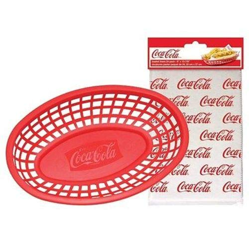 - OKSLO Coca-cola/coke 4pc food & snack red serving basket & logo liner set
