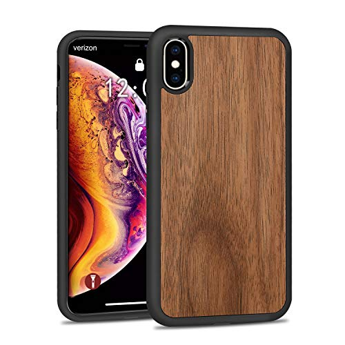 (JUBECO for iPhone X/Xs Case Wood, Wood +PC+ TPU Hybrid Hard Protect Case Shock Absorption,Nature Case - Walnut)