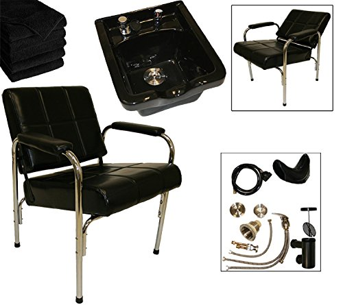 LCL Beauty Shampoo Package: Autorecline Shampoo Chair & Heavy Duty Black Ceramic Shampoo Bowl