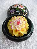 Hand Carved and Painted, Scented Soap Flower inside of a Hand Painted Orb