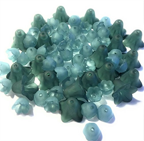 Lucite Beads (70 Lucite Flower Beads Two Size Set, Frosted Teal Green, Turquoise Lucite Acrylic Plastic Flowers, 18mm Bell, 10mm Tulip)