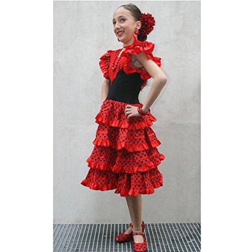 Vestido andaluza cuatro volantes - Rojo, 12 meses: Amazon.es: Juguetes y juegos