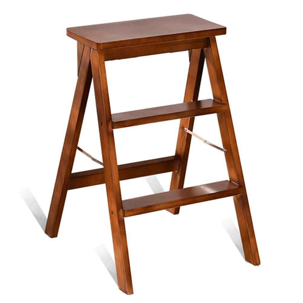 BROWN 424862cm Folding  Chair Step  Ladder Safety  Step  Stool Step  Stool Solid Wood Home Kitchen Ascending Folding Easy to Store Stool ZHANGQIANG (color   Brown, Size   42  48  62cm)
