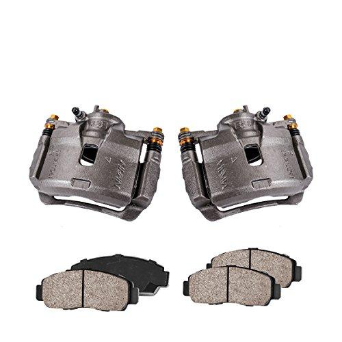 COEK01542 [2] FRONT Premium Loaded OE Caliper Assembly Set + Quiet Low Dust Ceramic Brake Pads ()