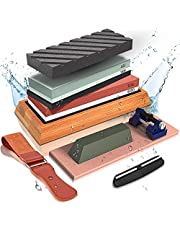 Knife Sharpening Stone Set , Includes 4 Side Grit 400/1000 3000/8000 Whetstone Knife Sharpener Kit,Safe Whetstone Knife Sharpener,Non-Slip Bamboo Base, Angle Guide,Polishing Compound,Leather Strop, Flattening Stone,Razor strop,rubber holder and honing guide