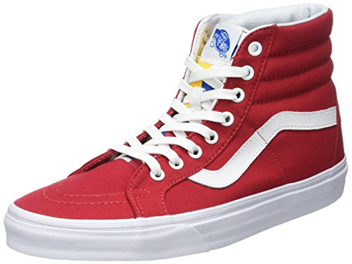 Vans SK8-HI Reissue (1966) Mens Skateboarding-Shoes VN-A2XSBMXE_13 - Red/Blue (Red Vans Shoes Men)