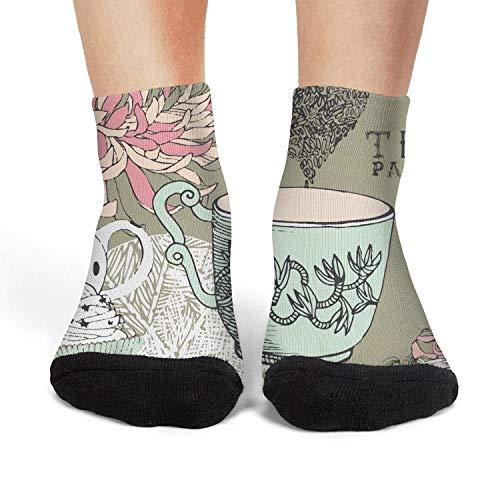 XIdan-die Womens Athletic Crew Socks Vintage Tea Pot Party Moisture Wicking Casual Socks]()