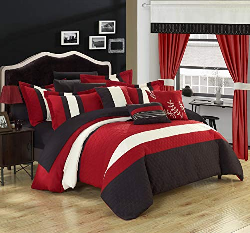 Chic Home Covington 24 Piece Comforter Set Embroidered Bed in a Bag with Sheets Curtains, Queen, Red
