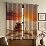 Custom design curtains/Vintage Lace Window Curtain/Grommet Top Blackout Curtains/Thermal Insulated Curtain For Bedroom And Kitchen-Set of 2 Panels(le with Three Stones Middle of Sand with Sunset La)