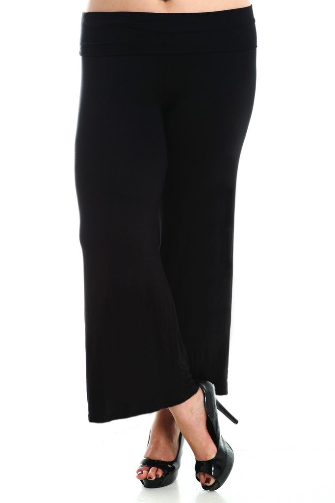 Stylzoo Women's Premium Modal Softest Ever Palazzo Solid Stretch Pants Black Regular 2X by Stylzoo (Image #4)