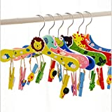 DICOCO Cartoon Non-slip Wood Hangers with Clips for Children, Baby Clothes Lightweight & Durable, Random Color (10 Pack)
