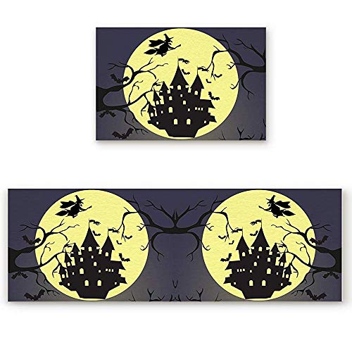 YGUII 2 Piece Kitchen Mat Halloween Castle Moon Silhouette Dead Tree and Witch Non-Slip Rubber Backing Washable Kitchen Rugs Doormat Runner Set, 16X23.6in (40x60cm) and 16X47in (40x120cm)]()