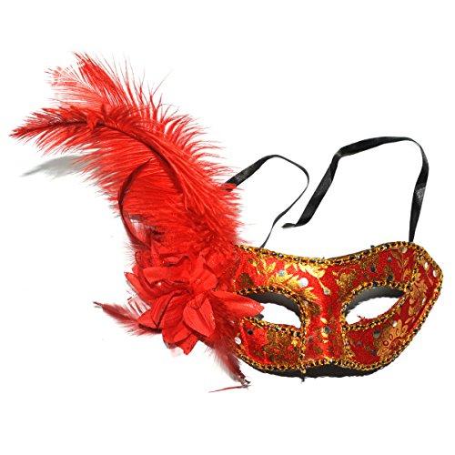 LNtech Masquerade Mask, Women Elegant Prom Halloween Masquerade Party Mask (Red) ()