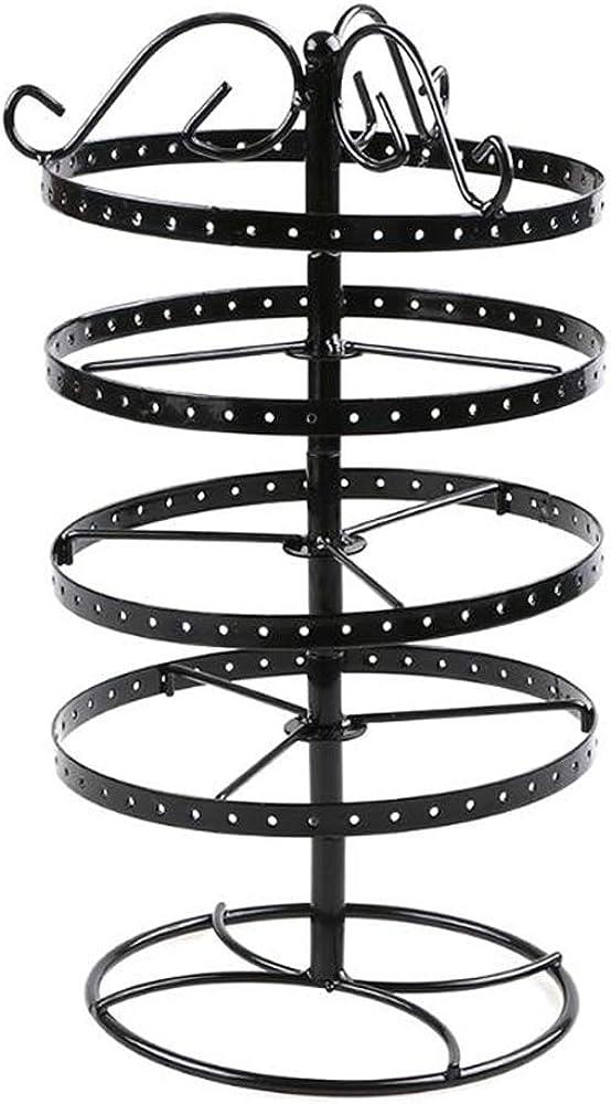 Teedru Pr/ésentoir /à bijoux vintage 168 trous /à quatre couches avec support rotatif pour boucles doreilles et collier