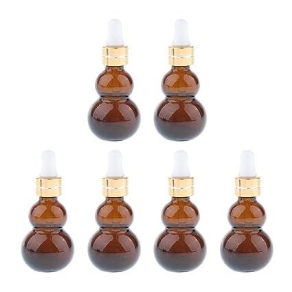 F Fityle 6 Piezas Botellas de Gotero de Vidrio Calabaza para Maquillaje Aceite Esencial Líquido -