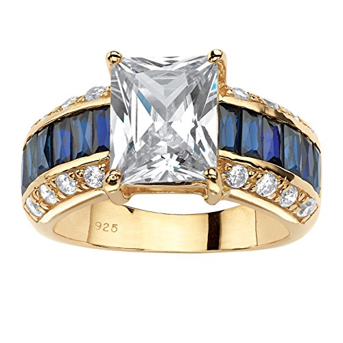 (14K Yellow Gold over Sterling Silver Emerald Cut Cubic Zirconia and Lab Created Blue Sapphire Ring Size 9)