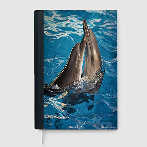 Dolphin,Composition Book/Notebook,Aqua Show Pair of Dolphins Dancing in the Pool Animal Family Tenderness Love,96 Ruled Sheets,A5/8.24x5.73 in ()