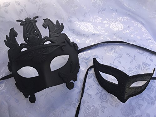 [New Mythological Hercules with Simple Women's Mask Black Color Couple Mask Lover Mask His and Her Masquerade Mask Ball Prom Party] (Hercules Costume Couple)
