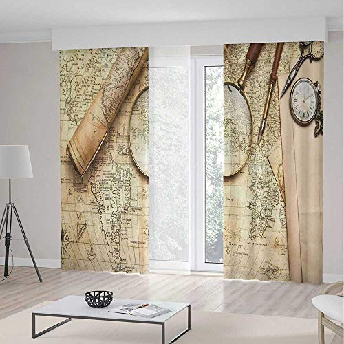 Blackout Curtains,Wanderlust Decor,Window Drapes for Bedroom Living Room Deco,Vintage World Map with Old Retro Objects and Magnifier Discovery Theme in Anthique Print,Theme,Living Room Bedroom -