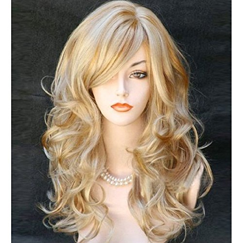RightOn Fashion 21 Inches Middle Lenght Curly Wig for Women Ladies(Mix Blonde)