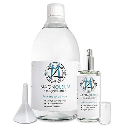 Aceite de magnesio puro, cloruro de magnesio de Zechstein, en botella de cristal,