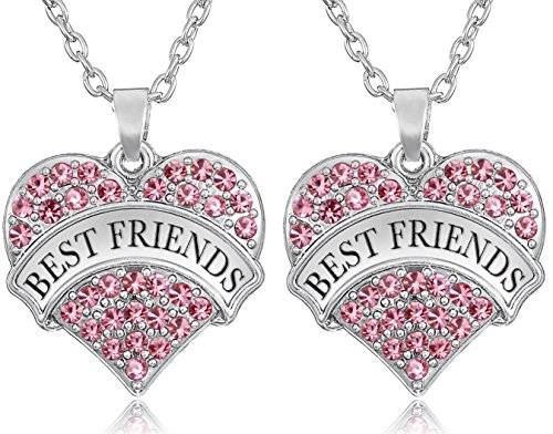 Set of 2 BEST FRIENDS Silver Tone Heart Necklaces BFF Besties Sisters Girls Teens Women - CHOOSE YOUR COLORS (Pink)