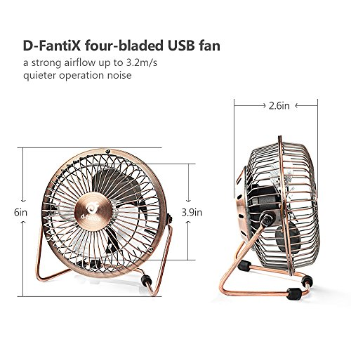 D FantiX Small USB Desk Fan Quiet 4 Inch Antique Metal