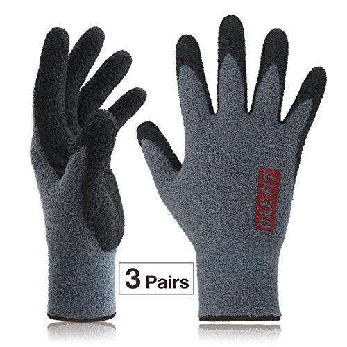 Fleece Winter Work Gloves NR450, Comfort Warm Power Grip, Durable Water Based Nitrile, Stretchy Fit Spandex, Machine Washable Prime Grey, Large 3 Pairs Pack