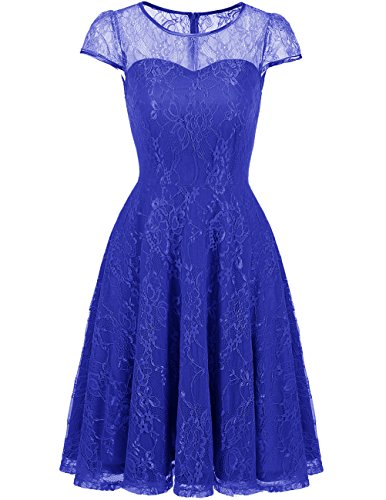 Lace Retro Dress With Blue Royal Sleeves Bridesmaid Cap Women's Party Swing Dresses DRESSTELLS xpqIgwp