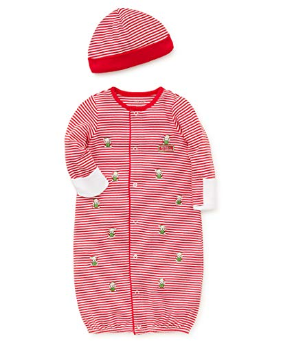 Little Me Baby Boys Gown and Hat, White/Christmas red, 0-3 Months]()