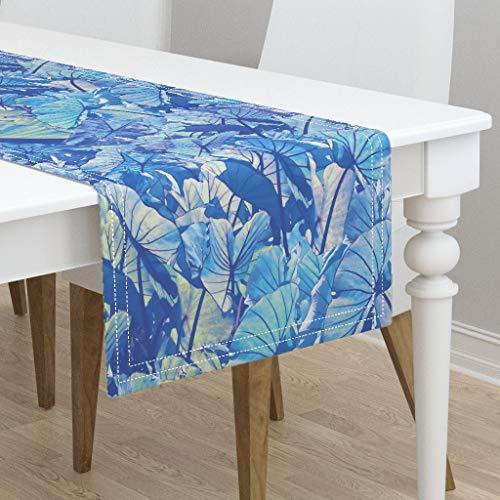 Table Runner - Taro Patch Hawaiian Plants Tropical Leaves Watercolor Modern Aloha Indian River by Kadyson - Cotton Sateen Table Runner 16 x 108