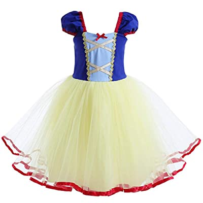 Baby Girl Princess Snow White Costume Bowknot Tutu Dress Up Birthday Party Fancy Cosplay Tulle Dance Gown for Halloween: Clothing