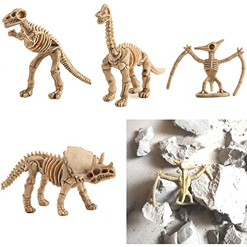 4in1 Dinosaurs Dig Kit, OMGOD Dinosaur Science Dig Up Kit Dig A Dino Excavation Dino Fossils and Assemble a T-Rex Skeleton, Tyrannosaurus Rex Brachiosaurus Pterosaur Triceratops 4 Pack, Christmas Gift